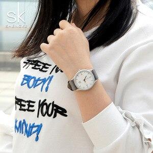 Image 5 - Shengke العلامة التجارية جلد النساء الساعات موضة السيدات ساعات كوارتز خمر المرأة عادية المرأة المعصم