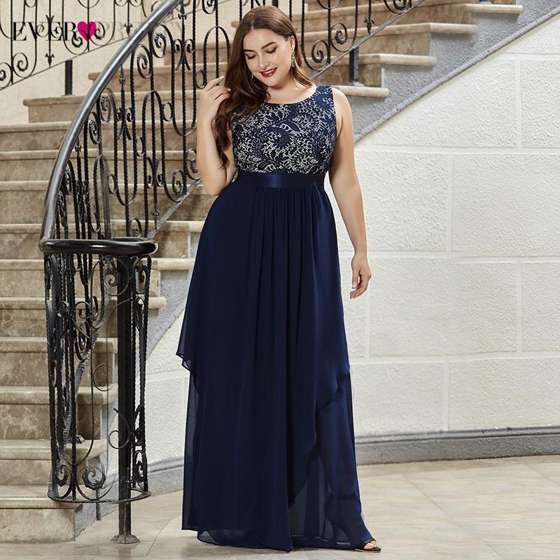 Image 4 - Plus Size Lace Bridesmaid Dresses Ever Pretty EP08217 A Line O Neck Sleeveless Elegant Chiffon Wedding Party Gowns VestidosBridesmaid Dresses   -