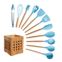 Silicone Cooking Utensils Set Non stick Spatula Soup Spoon Wooden Handle with Storage Box Kitchen Tools Set Gifts for Mother