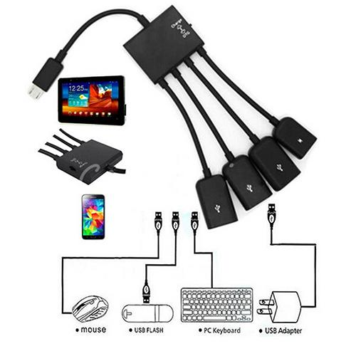 4 In 1 Micro USB Hub OTG Cable Extension Adapter for Android Samsung Tablet 2020