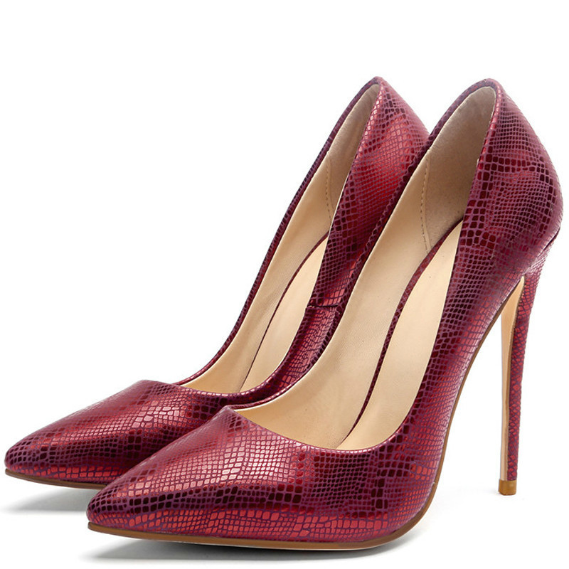 YECHNE Silver Women Sexy Pumps Stiletto High heels Shoes Wedding Party Woman Shoes Green Red Plus Size 33 43 Punch Shoes