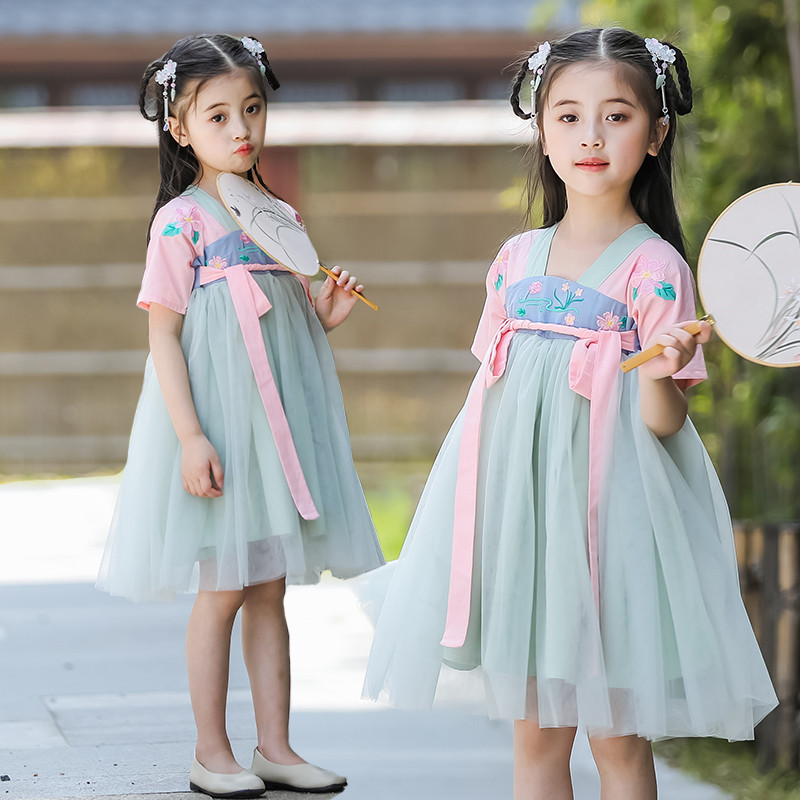 Girls Classical Dance Costume Folk Festival Outfit Reform Hanfu Embroidery Fairy Dress Performance Clothes Stage Wear DF1282