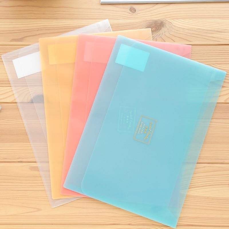 4pcs KOKUYO WSG-KUCW311 A4 Pastel Cookie Series Document Bag Folder Test Paper Storage Translucent Max Capacity 100Sheets