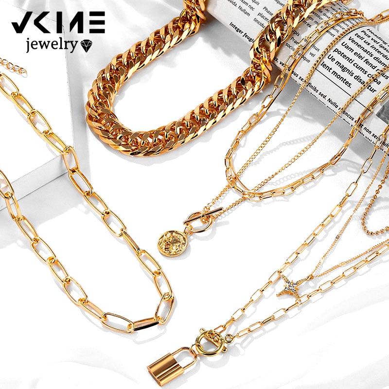 VKME модное ожерелье с подвеской в виде звезды для женщин, винтажное толстое Массивное колье с цепочкой, многослойное колье для монет, ювелирн...
