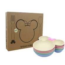 Tableware Dinnerware-Set Wheat-Straw Kids Children Cartoon New 3pcs Kindergarten