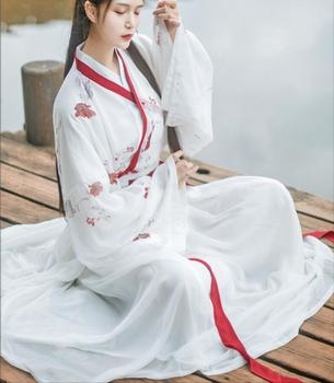 White Fairy Ancient Hanfu Dress Traditional Chinese Dance Costumes Folk Tang Suit Elegant Performance Clothing
