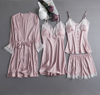Seksowna koronkowa damska flanelowa koralowa piżama z polaru zestaw Casual piżama różowa bielizna nocna garnitur satynowa koszula nocna bielizna nocna intymna bielizna tanie i dobre opinie YZYOUTHZING Poliester Rayon Stałe WOMEN Satin y1022 V-neck Szorty Piżamy Pełna Wiosna Pink Blue Black Burgundy M L XL
