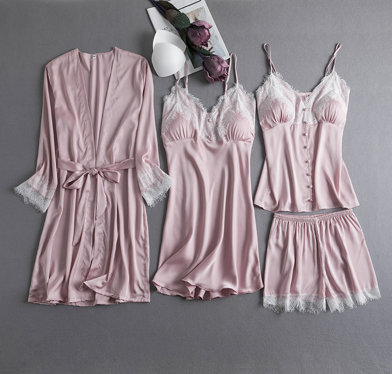 Sexy Lace Women Flannel Coral Fleece Pajamas Set Casual Pyjamas Pink Sleepwear Suit Satin Nightgown Nightwear Intimate Lingerie