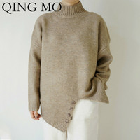 QING MO Women Brown Apricot Solid Sweater Women Knitting Sweater 2019 Winter Stand Neck Full Sleeve Pullovers Sweater ZQY1367