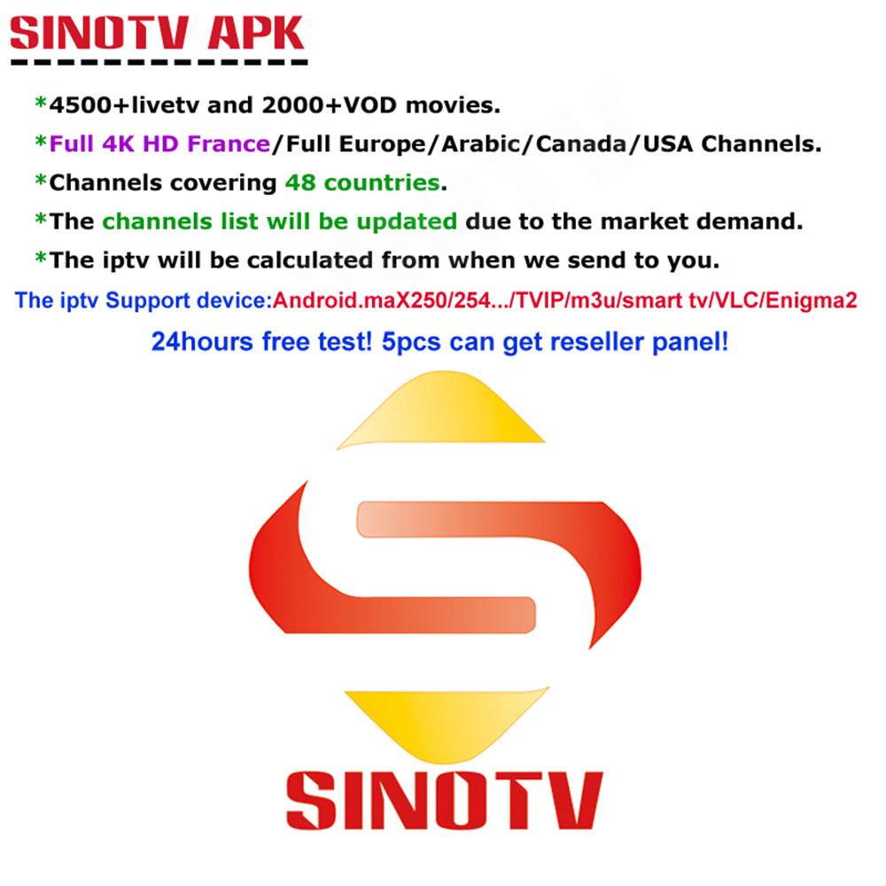US $25 98 10% OFF|1 Year SINOTV subscription code M3U APK Europe Swedish  Portugal IPTV Subscription over 6200 Channels USA Canada UK French  Arabic-in