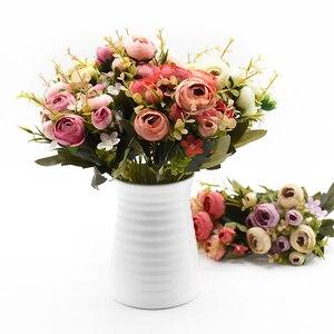 Image 5 - 10Heads/1 Bundel Zijde Thee Rozen Bruid Boeket Voor Kerst Thuis Bruiloft Nieuwe Jaar Decoratie Nep Planten Kunstmatige bloemen