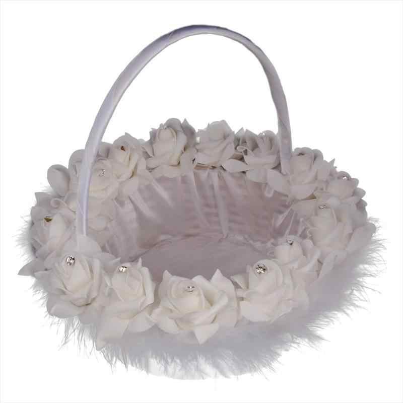 Свадебная Цветочная корзина для девочек, корзина с перьями для невесты, свадебная церемония, вечеринка, украшение