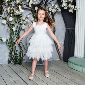 Image 2 - فستان جديد 2020 للفتيات من التول والدانتيل فساتين الأميرة للأطفال فستان حفلات الزفاف للبنات مع وشاح ملابس الطفل 1 6y E1953