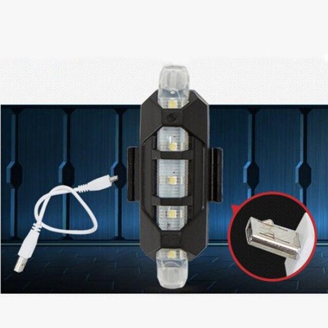 Lanterna para a luz da bicicleta usb recarregável luz da cauda lâmpada mountain bike lanterna traseira ciclismo aviso de segurança led 6