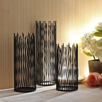 SZS Hot 1 Set Of 3 Pcs Metal Willow Led Candle Holder Pillar Candle Holder Set 8/10/12 Inch Height Candlestick for Wedding Party