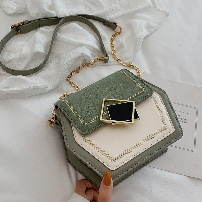 Contrast Color Scrub Leather Crossbody Bags For Women 2020 Small Hexagon Shoulder Messenger Bag Phone Purses And Handbags