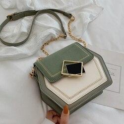 Contraste cor esfrega couro crossbody sacos para mulher 2019 pequeno hexágono bolsa de ombro mensageiro telefone bolsas e bolsas
