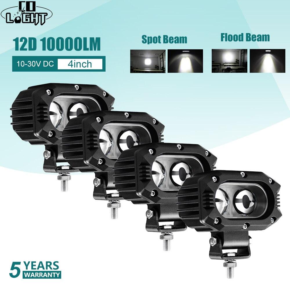 CO ışık 12D Led çalışma ışığı 12V 24V 4 inç 96W Led ışık çubuğu nokta sel ışın motosiklet Offroad araba tekne kamyon Lada UAZ 4x4