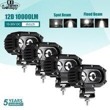 CO LIGHT 12D Led Work Light 12V 24V 4 inch 96W Led Light Bar Spot Flood Beam per moto Offroad Car Boat Truck Lada UAZ 4x4