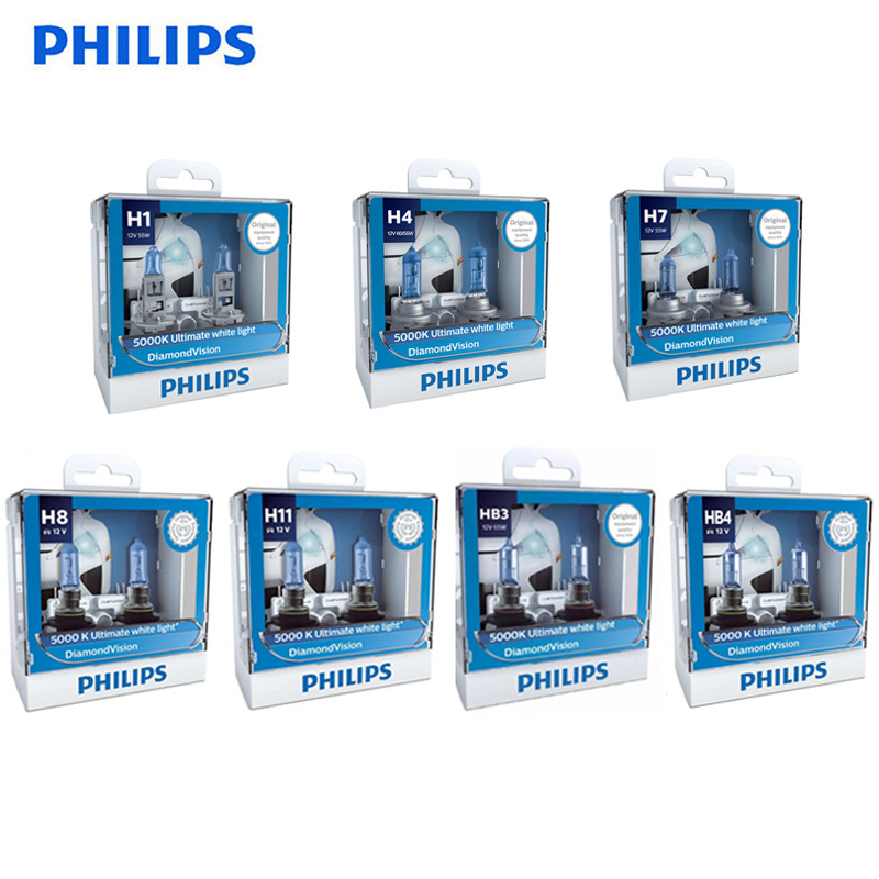 Philips Diamond Vision H1 H4 H7 H8 H11 9005 9006 HB3 HB4 12V DV 5000K Cool White Light Car Halogen Headlight Fog Lamp,2X