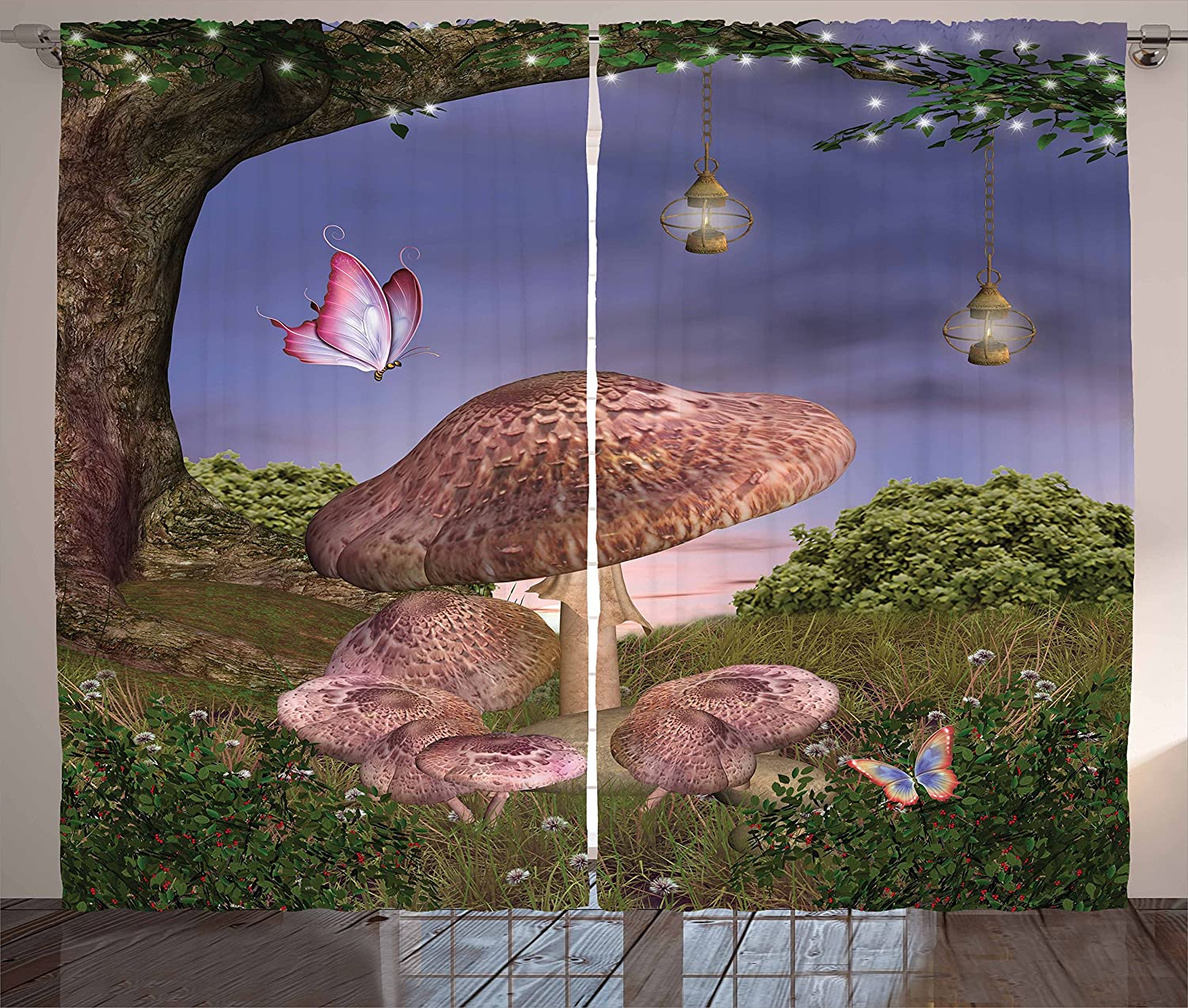 Fantasy Kitchen Curtains Multicolor Living Room Bedroom Window Drapes Enchanted Forest with Butterflies and Mushroom Magic Fairy Curtains AliExpress