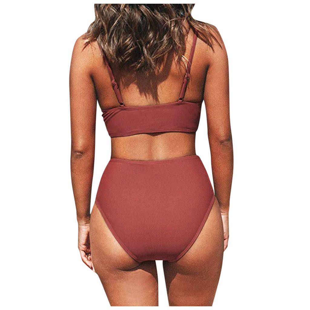Verão sexy maiô feminino cruz cintura alta com decote em v conjunto de biquíni swim wear praia biquini maiô 2020 biquínis 20522