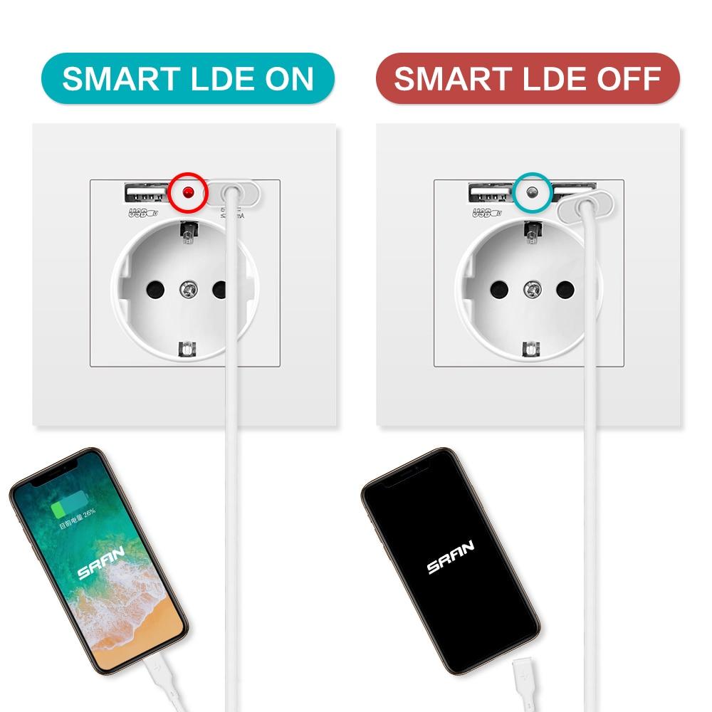 SRAN EU power socket,socket with USB for home ,16A 250V dual usb 5V 2A PC Panel 86mm*86mm wall usb socket smart LED on/off