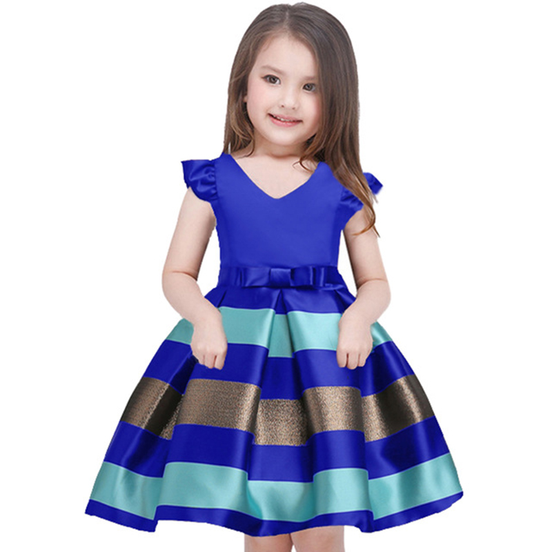 Платье в полоску для маленьких девочек, официальное свадебвечерние вечернее платье, детское рождественское платье принцессы, костюм, детск...