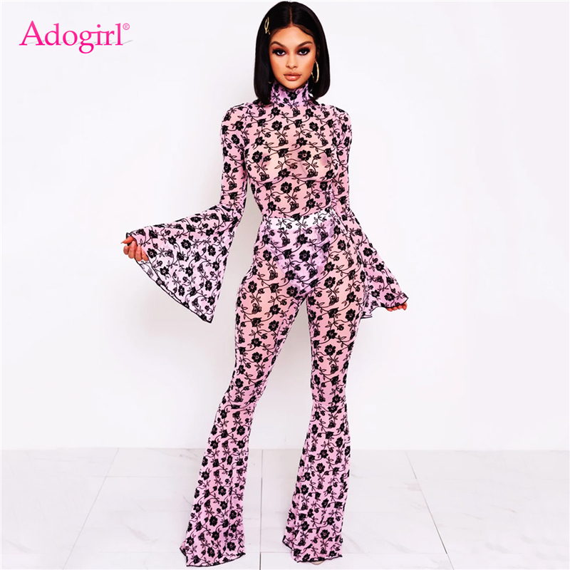 Adogirl Floral Print Mesh Two Piece Set Turtleneck Flare Long Sleeve Bodysuit Fashion Tops Foot Cut Pants Casual Slim Suit