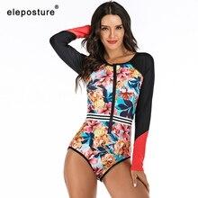 2020 Surf Swimwear Women Zipper One Piece Swimsuit Female Long Sleeve Swimwear Diving Suit Bathing Suit Beachwear Swimming Suit