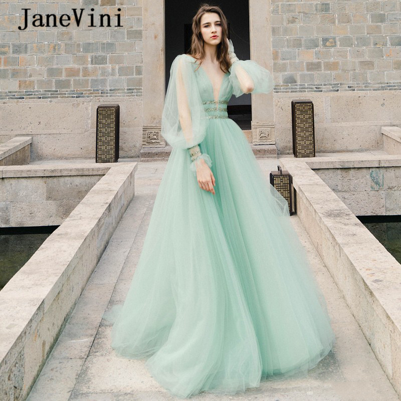 JaneVini 2020 Sexy V Neck Tulle Formal Dress Long Bubble Sleeves Prom Dresses Plus Size Crystal Beaded Backless Robe De Mariee