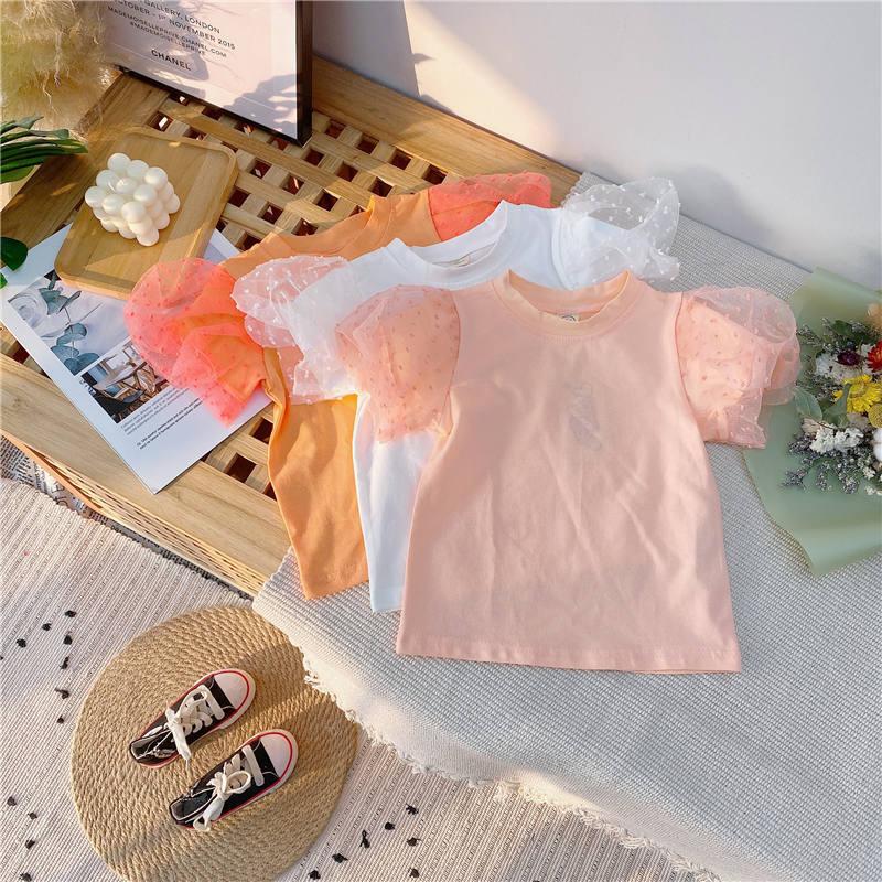 Jargazol Fashion Kids Clothes Puff Sleeve Shirt&lace Denim Skirt Korean Summer Little Girls Clothing Set Cute Children Outfits 2
