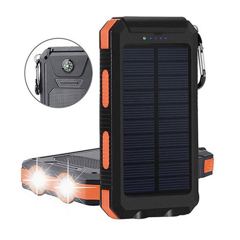 banco de energia solar 20000mah com luz led carregamento rapido bateria externa painel de bateria solar