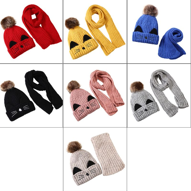 Children Scarf Hat Set Knitted Kitty Pattern Fluffy Pompom Kids Head Cap Shawl