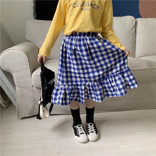 Pur coton décontracté plaid jupes pour filles 2020 koreal style mignon jupe longue 1-6Y