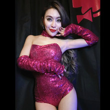 Nouveau pôle danse vêtements Sequin body Club DJ chanteur Jazz Cheerleading danse moderne scène Costume Performance Rave Wear BI729(China)