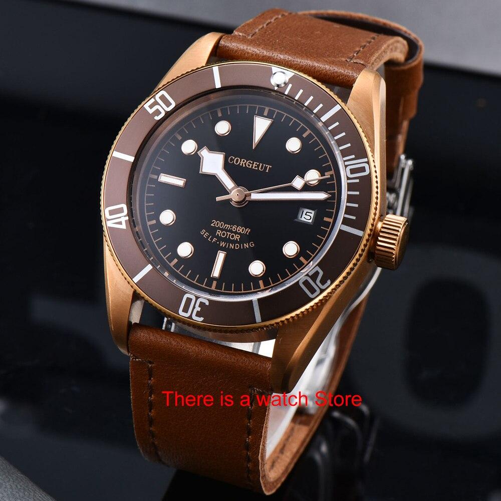 Corgeut 41mm Automatic Watch Men Military Black Dial Wristwatch Leather Strap Luminous Waterproof Sport Swim Mechanical Watch 3