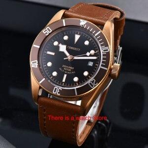 Image 3 - Corgeut 41mm automatyczny zegarek męski wojskowy czarny Dial skórzany pasek do zegarka Luminous wodoodporny Sport Swim mechaniczny zegarek