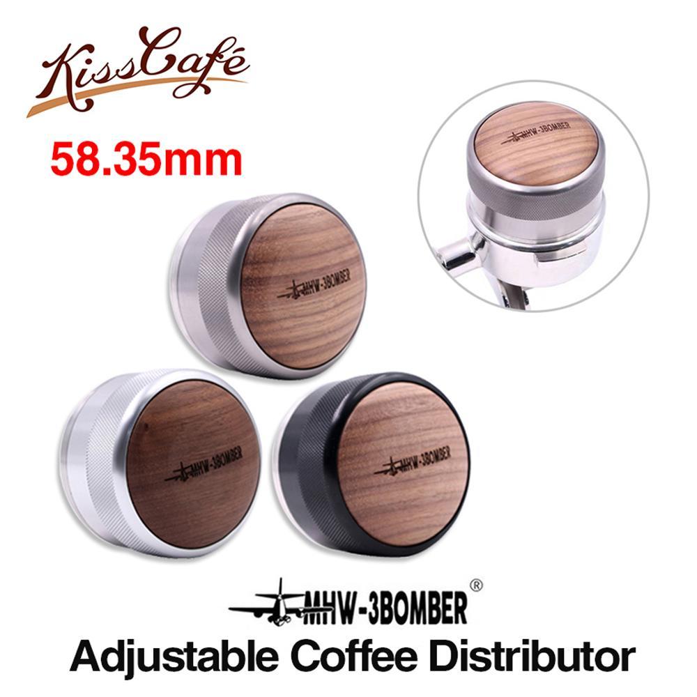 58.35 Mm Ajustable Koffie Sabotage Walnoot Houten Handvat Poeder Hamer Fan Base Espresso Distributeur Accessoire Coffeeware Voor Barista