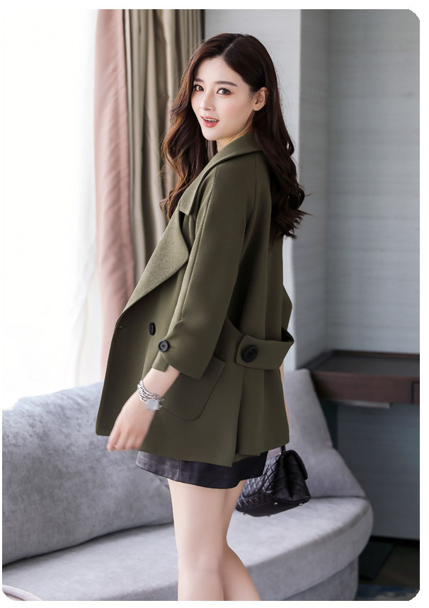 Autumn jacket women M-2XL plus size pink green beige coat 19 new long sleeve lapel fashion short paragraph jacket feminina LR484 40