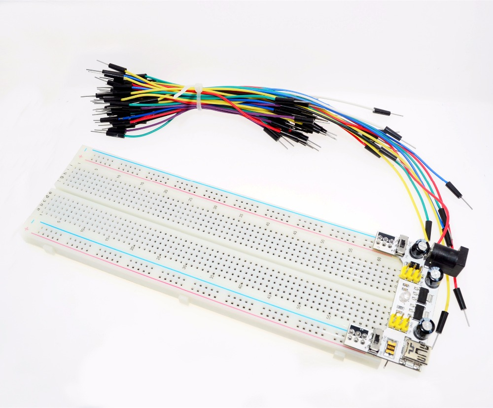 WAVGAT 3.3V/5V MB102 Kit Breadboard Power Module+MB-102 830 Points Solderless Prototype Bread Board+65 Flexible Jumper Wires