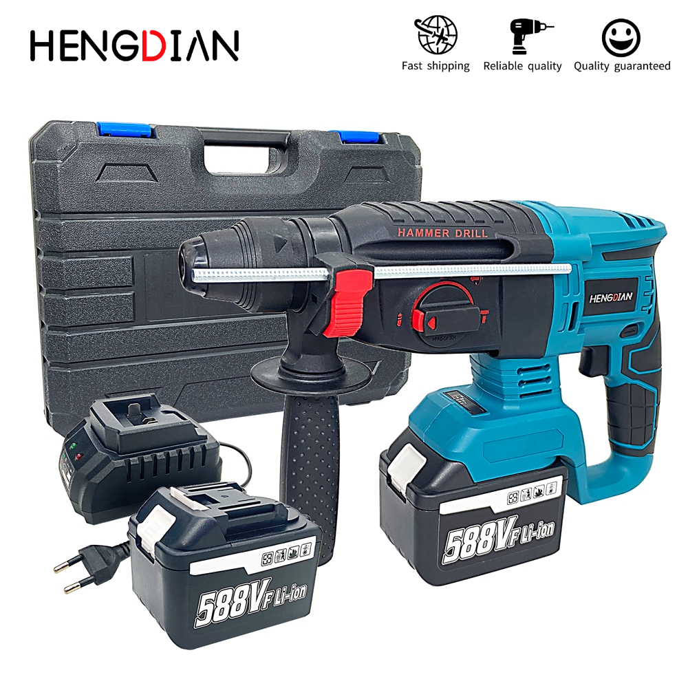 Brushless Cordless Electric Hammer Battery Charger Power Tools  Rechargeable Cordless Hammer Drill
