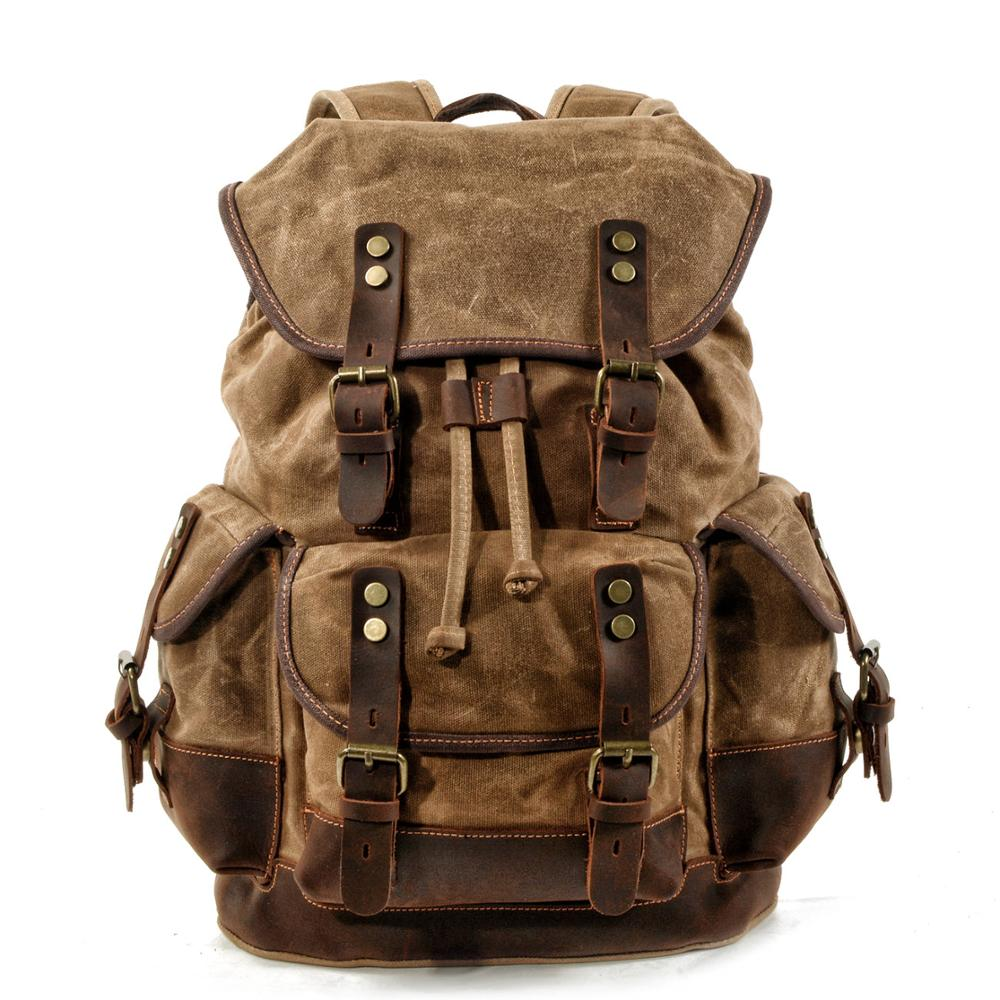MUCHUAN Cotton Oil Wax Canvas Backpack Mens Large Capacity Vintage Waterproof Backpack 15
