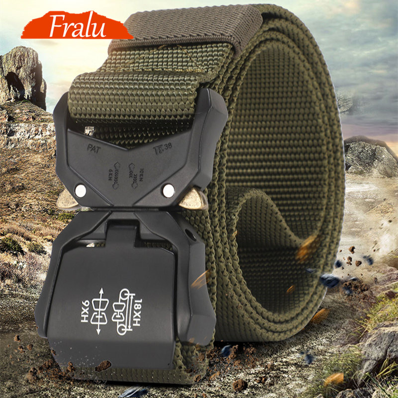 FRALU New Tactical Belt Military High Quality Nylon Men's Training Belt Metal Multifunctional Buckle Outdoor Sports Hook New
