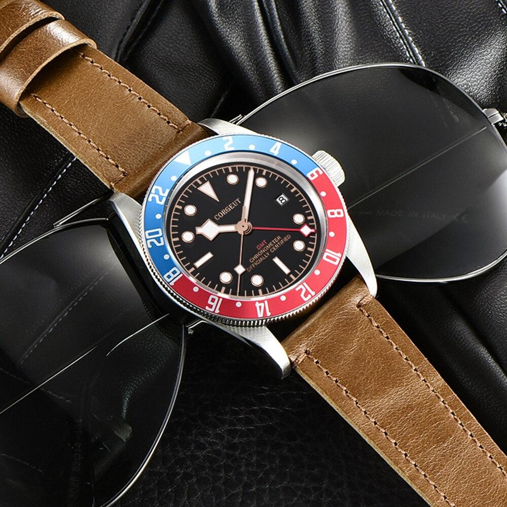 Corgeut люксовый бренд Schwarz Bay GMT Мужские автоматические механические часы Военные Спортивные часы для плавания кожаные механические наручные ... - 2