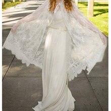 White ivory Wedding Wraps Bride Jacket Long Bridal Bolero With Lace Appliques Medium Length Wedding Cape