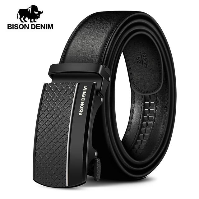 BISON DENIM Genuine Leather Automatic Men Belt Luxury Strap Belt for Men Designer Belts Men High Quality Fashion Belt N71416 2