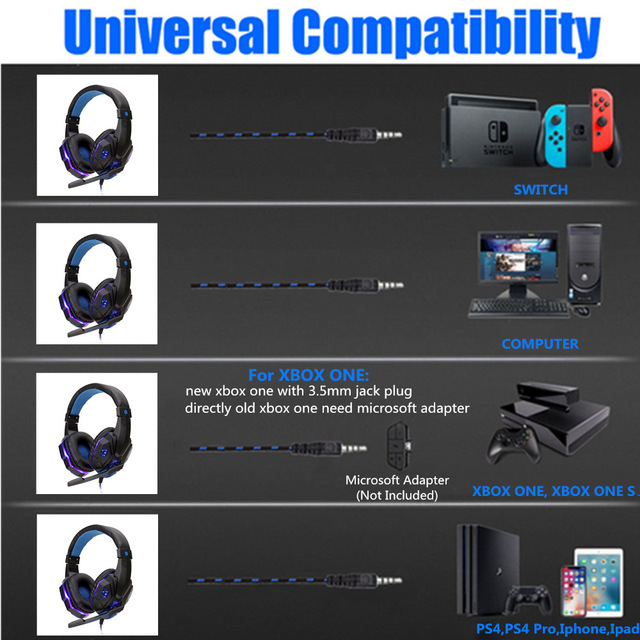 Professional Bass Gamer Wired Headphones For PS4 PS5 Switch Xbox One Gaming Headset With Mic LED Light Computer PC Phone Headset 6