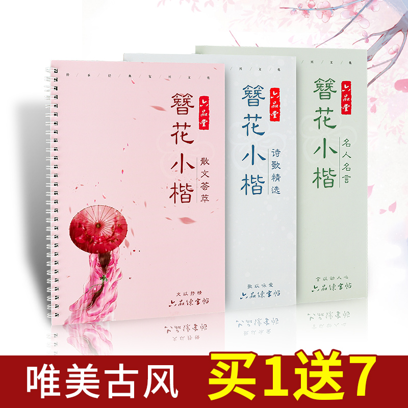 Liu Pin Tang 3pcs/set Pretty Girl Floral Calligraphy Copybook For Adult Fresh Antiquity Copy Painting Pen Regular Script