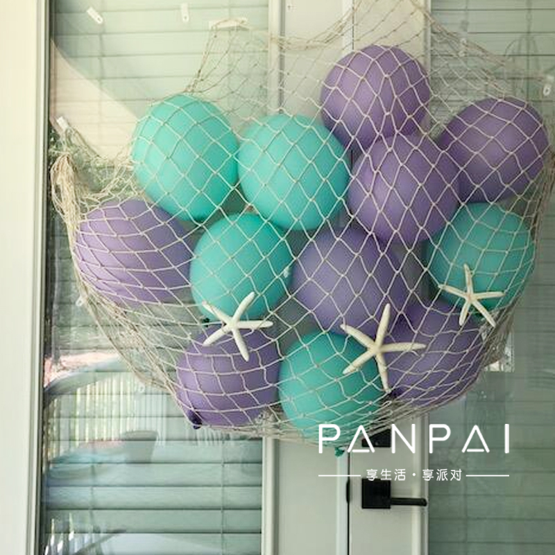 Nautical Mermaid Theme Birthday Party Fishing Nets With Sea Shells Metal Balloons Background Wall Hanging Decoration Supplies